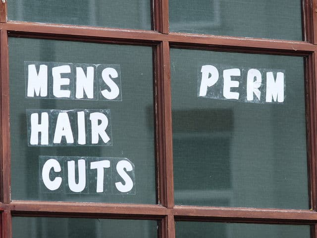 mens hair cut sign