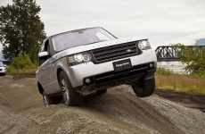 Land Rover Range Rover with one wheel in air