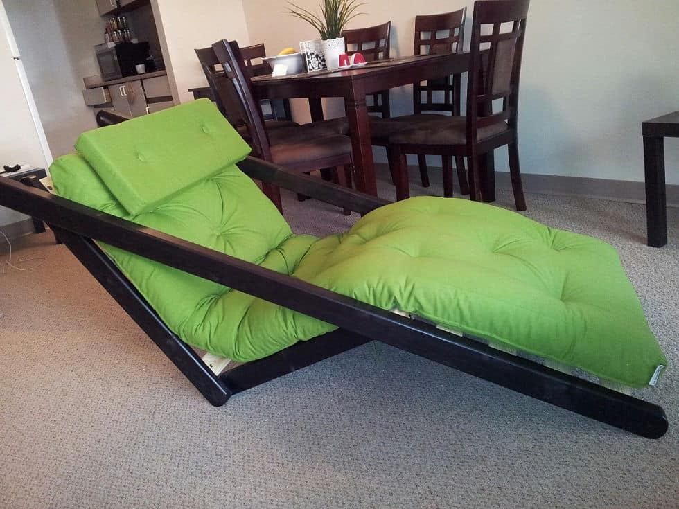 Figo Futon Chaise Lounge With Wenge Frame Unfinished