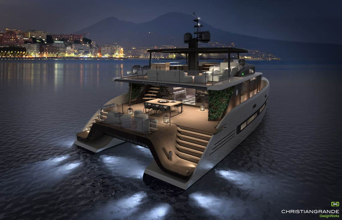 Picchio yacht at night