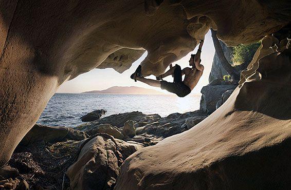 bouldering on a beach