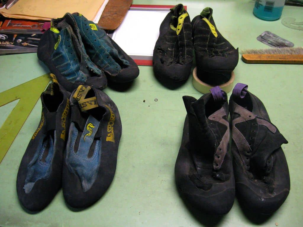 old rock climbing shoes