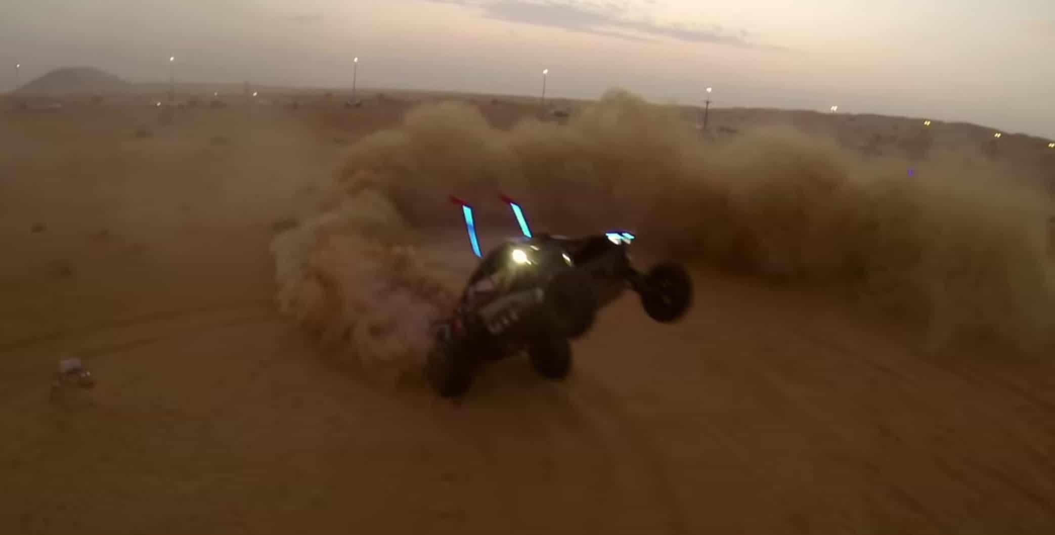 dune buggy flipping in desert