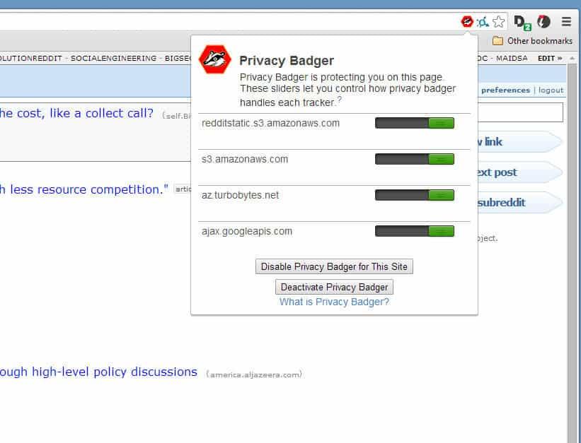 privacy badger settings
