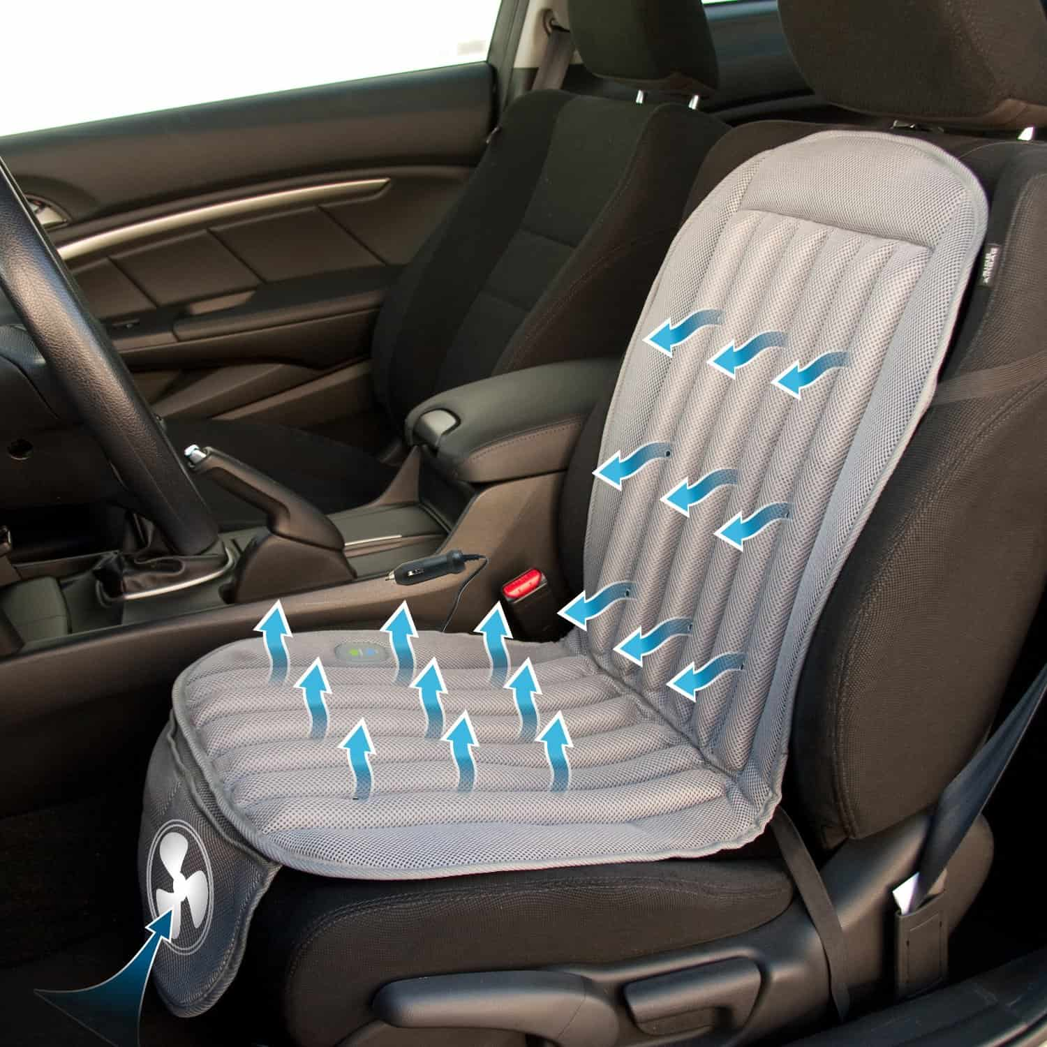 The Cooling Car Seat Blows Air All Around Your Body From Its 18 Ventilation Holes Which Can Be Adjusted With A Push Of Button For Either High Flow Or