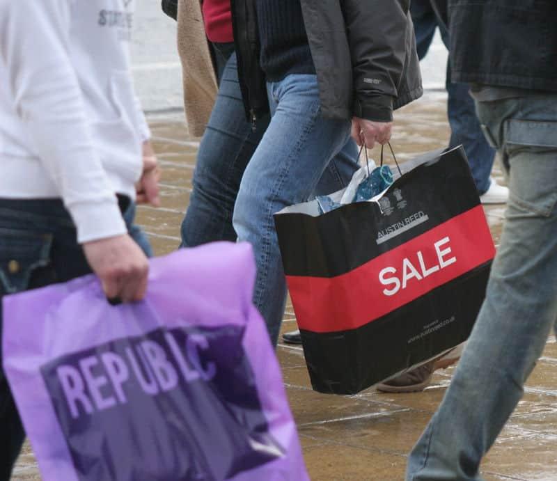 sales bags on street