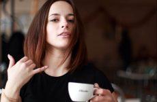 sexy lady drinking coffee