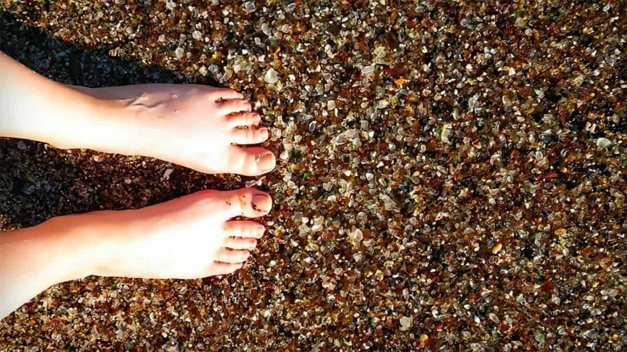 glass beach feet