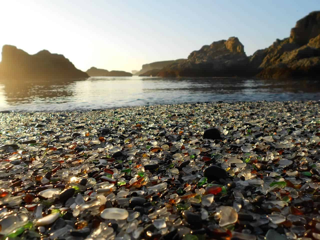 glass beach sand