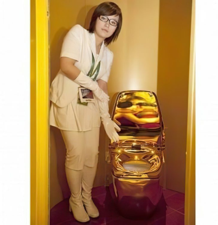 gold plated toilet