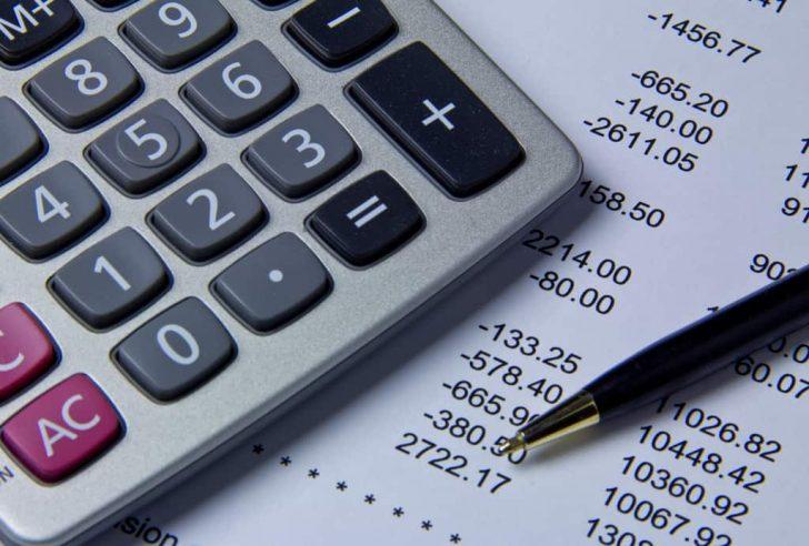 calculator on paper