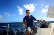 happy man boat