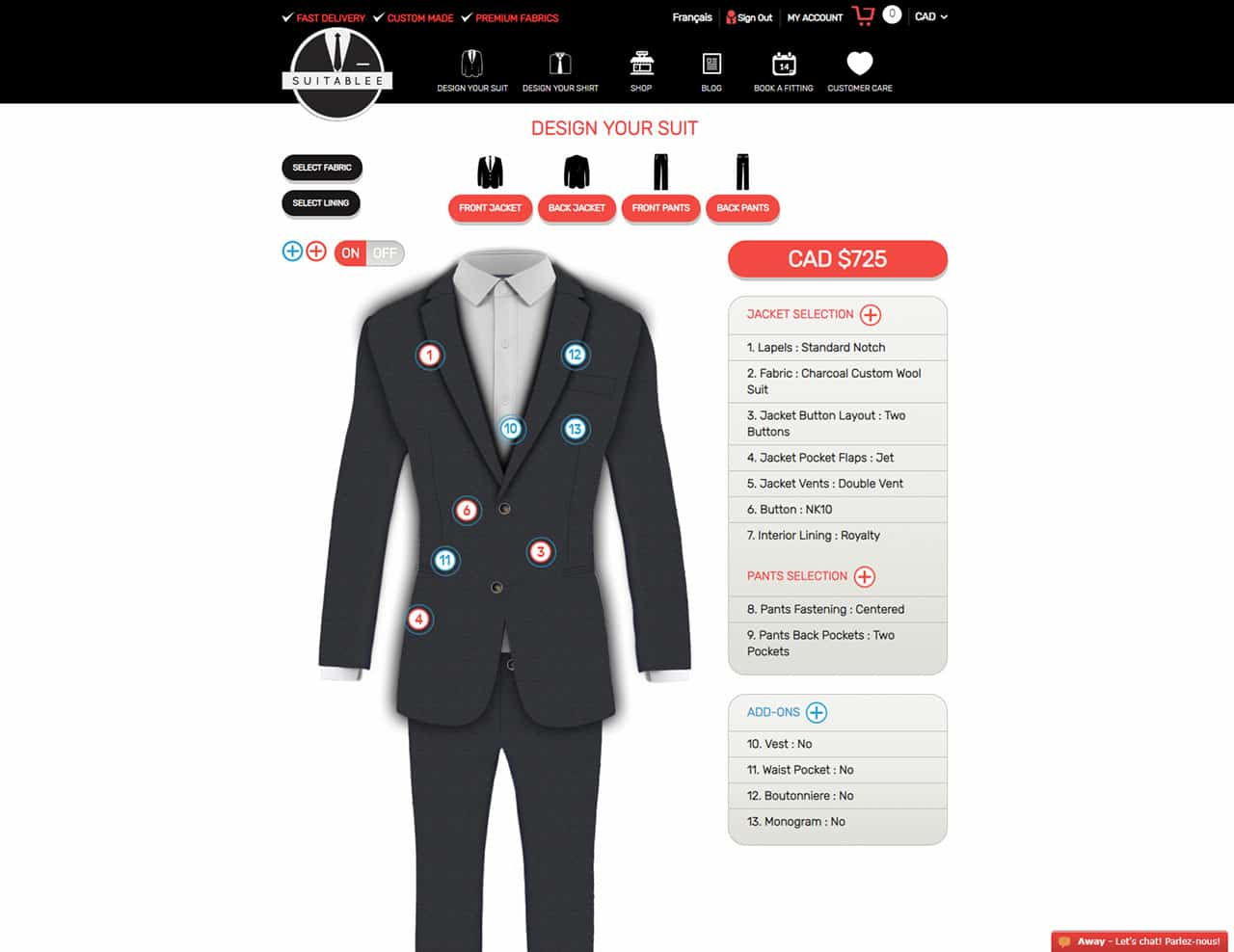 reviewing suitablee custom suits ordering process