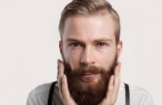 man touching beard