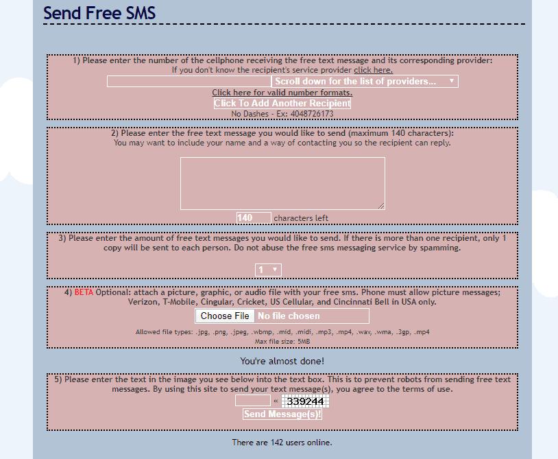text4free send interfae
