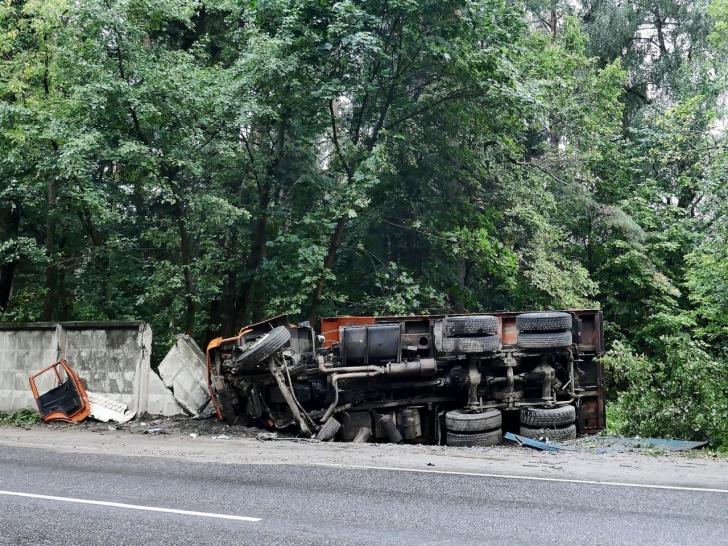 crashed flipped truck