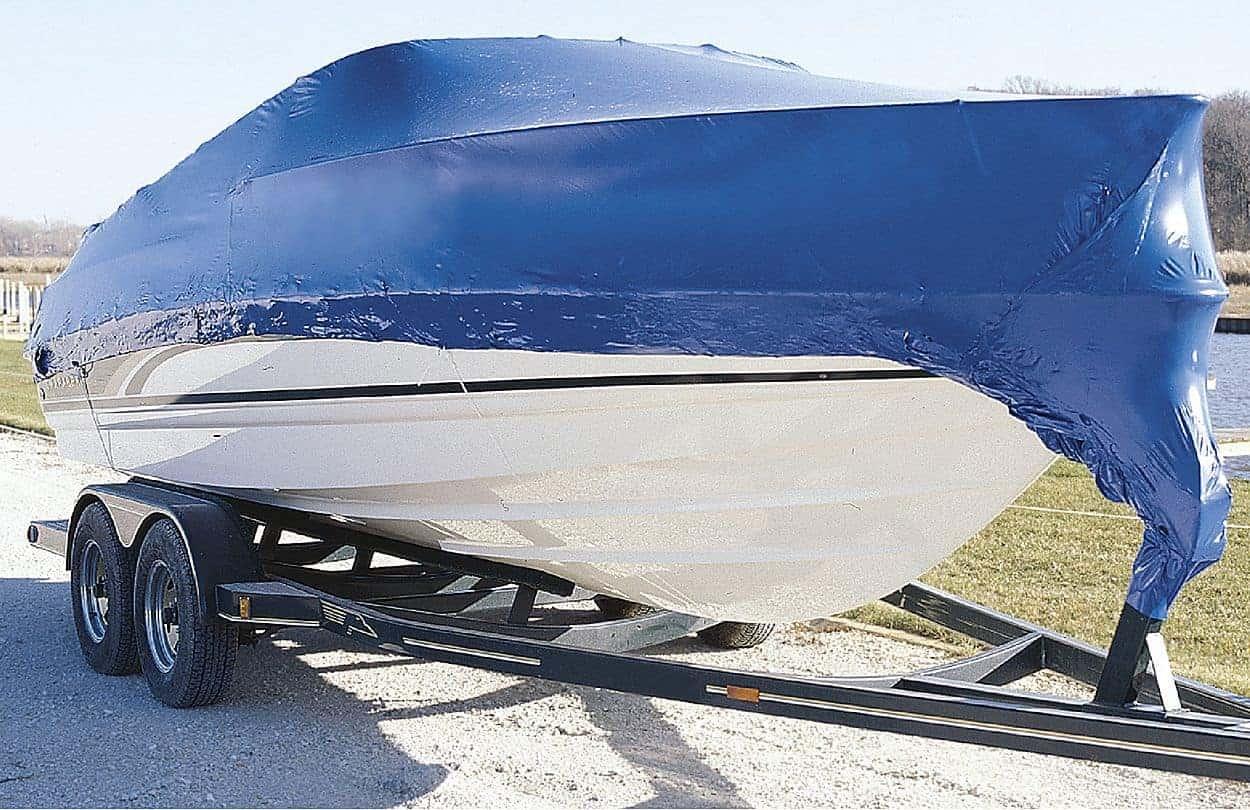boat covered in tarp