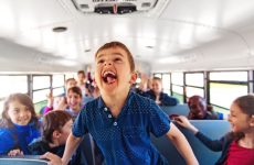 child yelling on bus