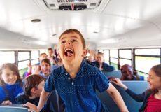 child yelling on bus
