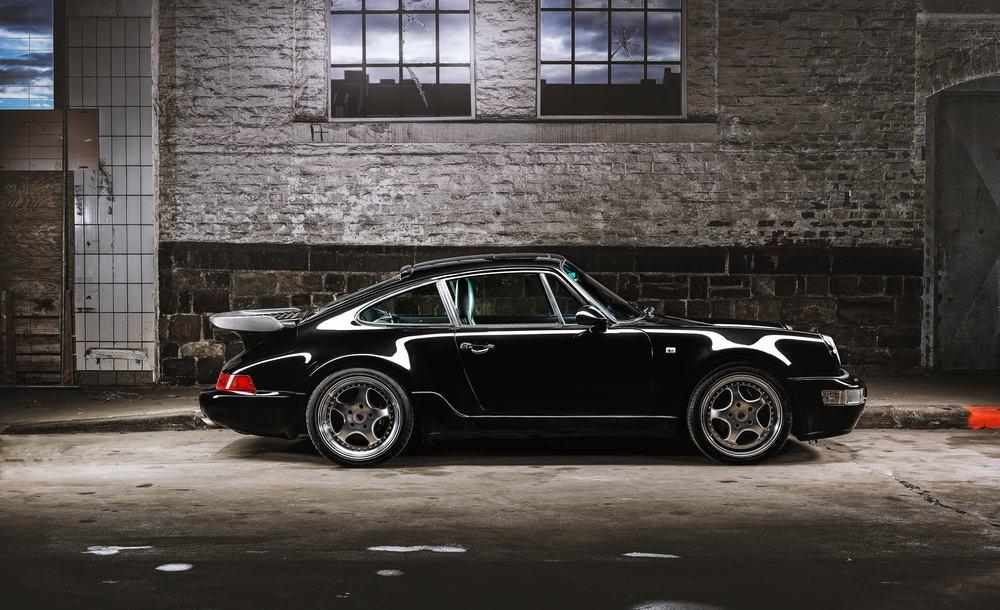 classic black sports car