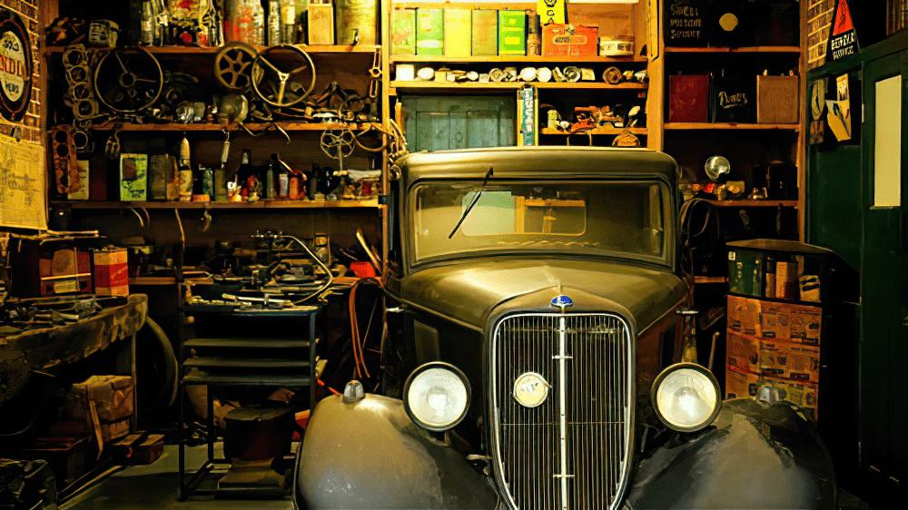 inside garage with old car enlarged