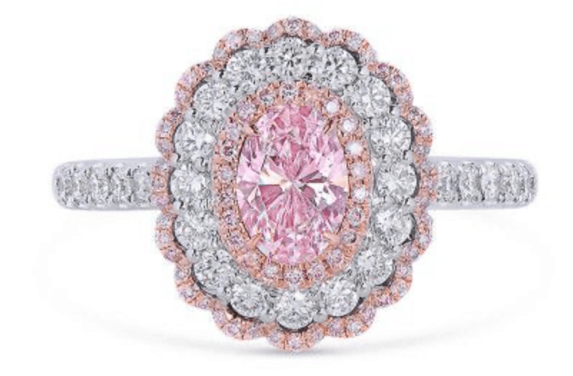 rosy pink diamond ring