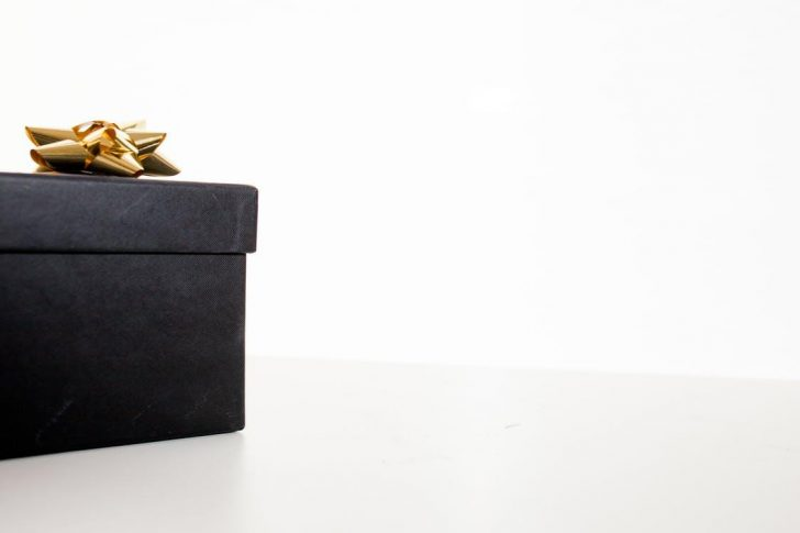 black gift box with gold colored bow