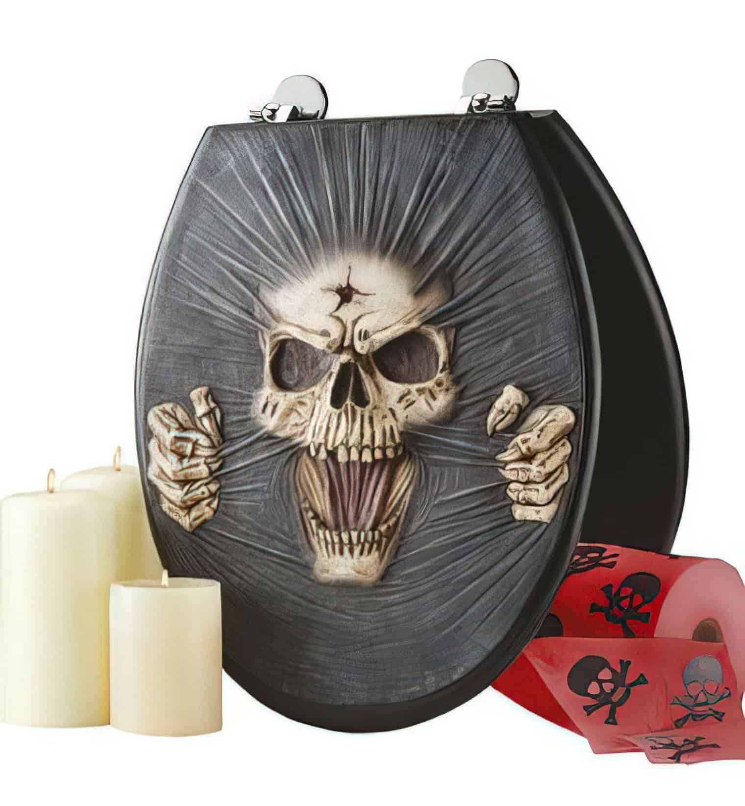 screaming skull toilet seat cover