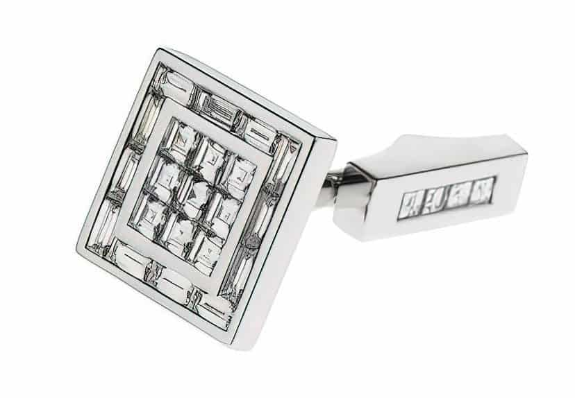 square designer diamond cufflink 1
