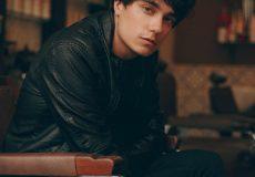 stylish man wearing leather jacket