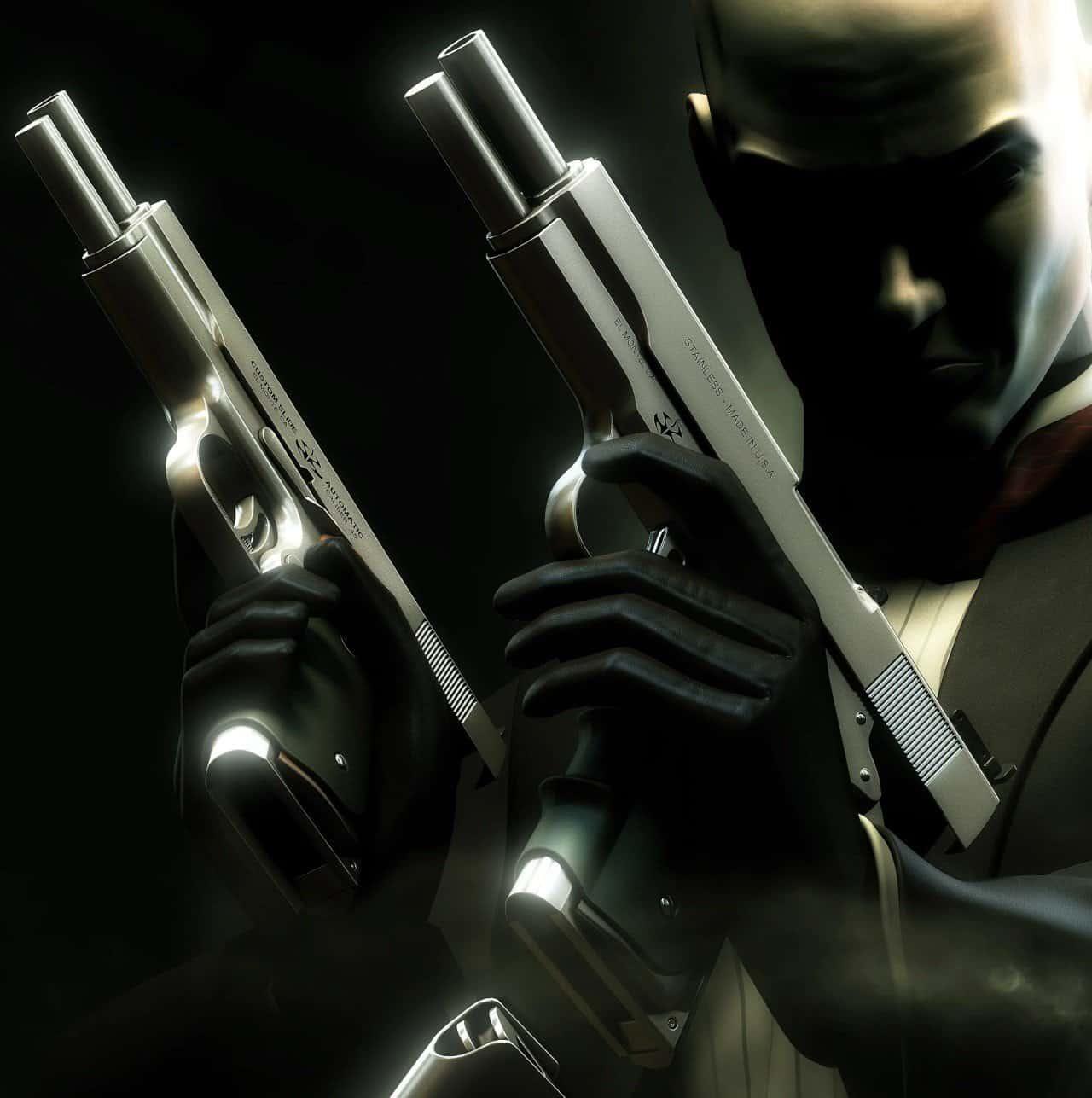 agent 47 holding silverballer pistols