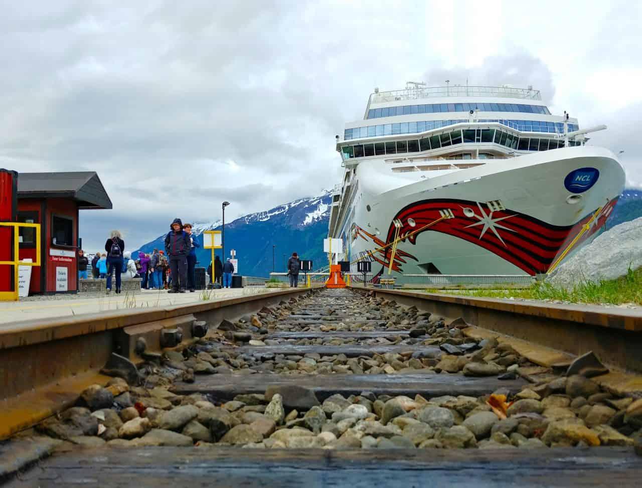 norwegian jewel cruise ship train tracks in skagway alaska v2