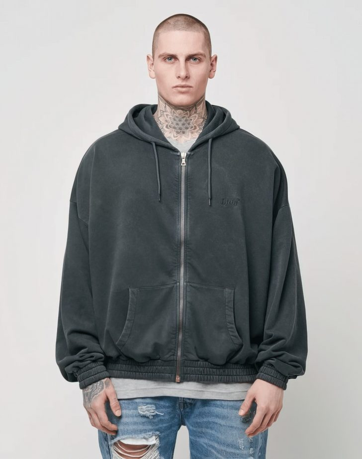 LFDY Hooded Zip Washed Grey