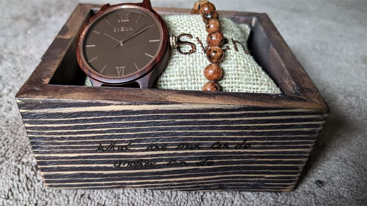 Svenn Atlas Wood Watch in box