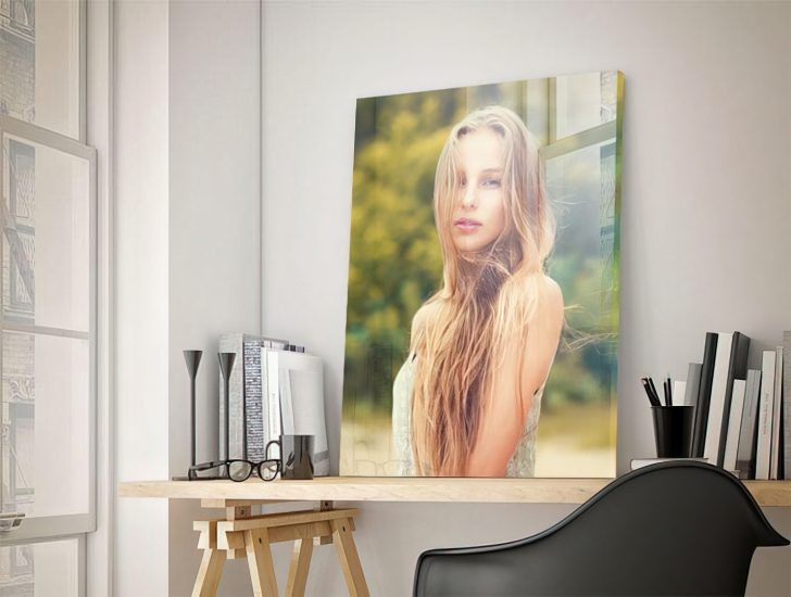 canvas print of woman on wall