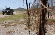 military base with barbed wire