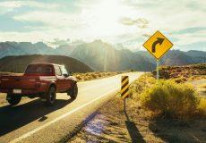 pickup truck driving in the desert