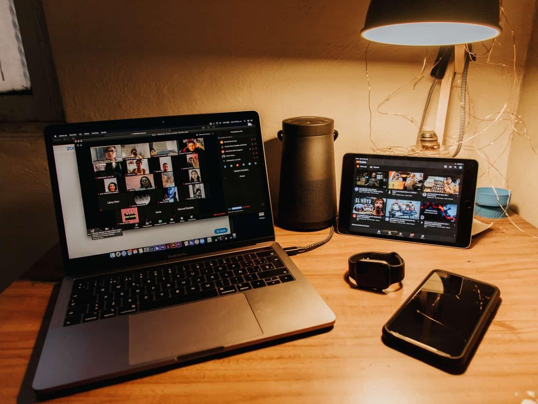 laptop computer screen on desk