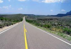 desolate stretch of road