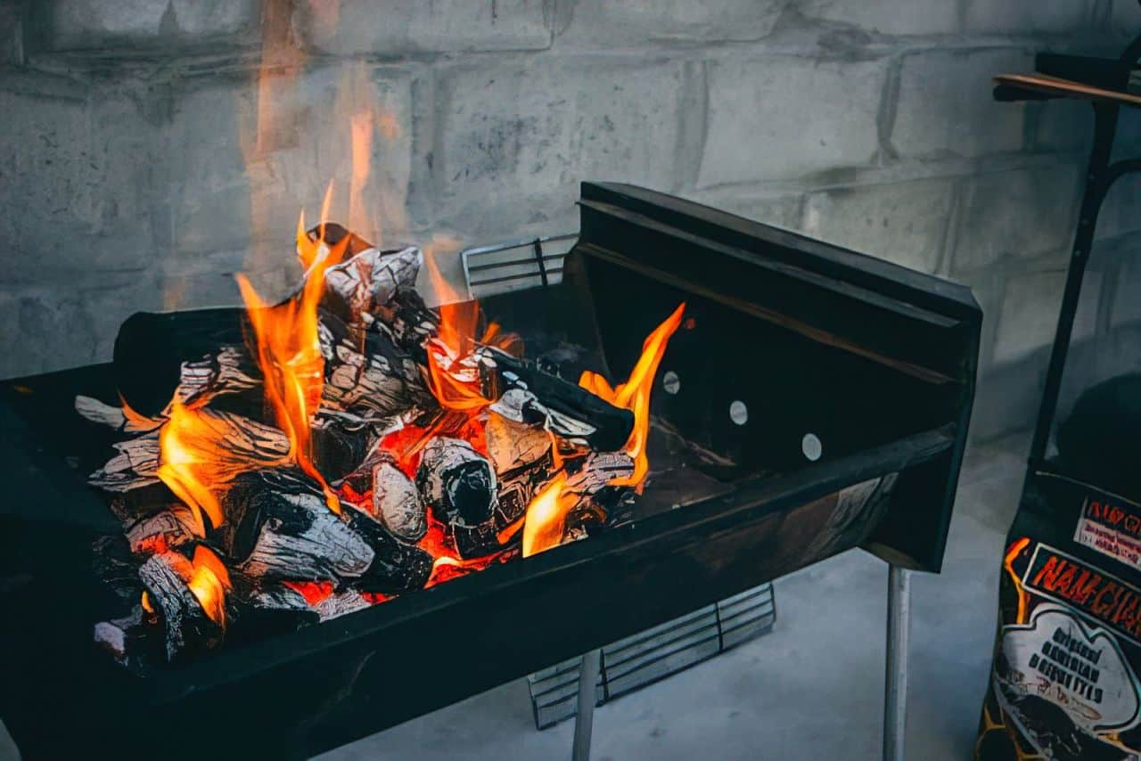 burning wood bbq