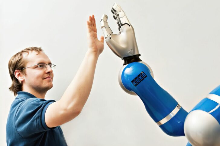 cobot high five with human