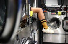 person inside washing machine