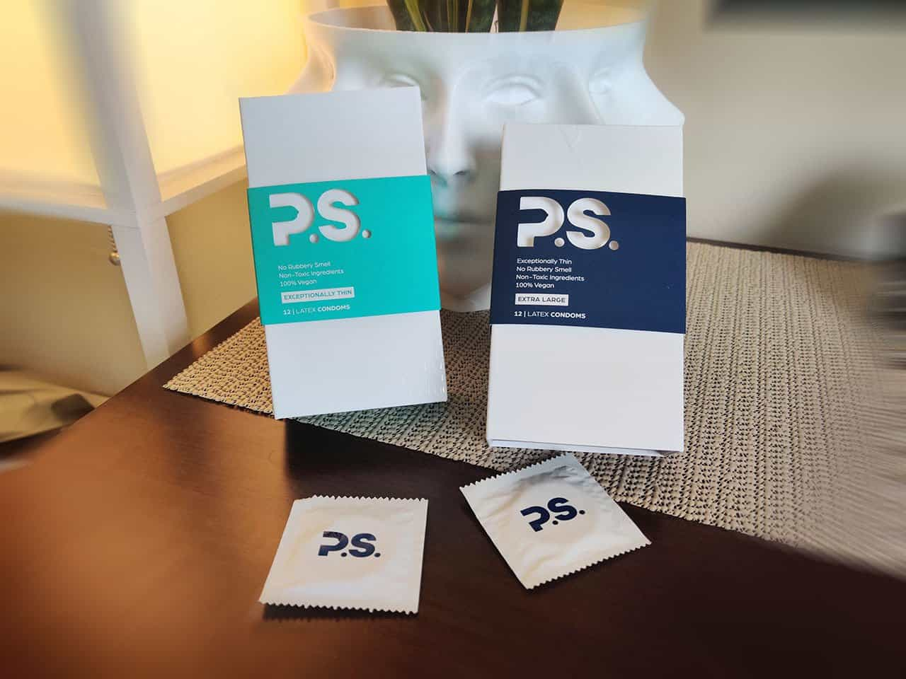 ps condoms on a table
